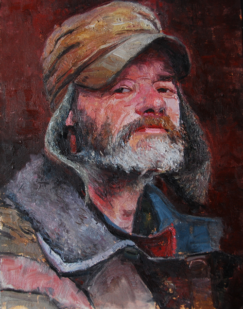 "Homelessness, Earls Court, 12"" x 16"", Oil on Board"