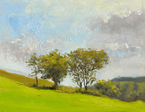 "Fresh morning light, Newtown, Wales, 10"" x 8"", Oil on board"