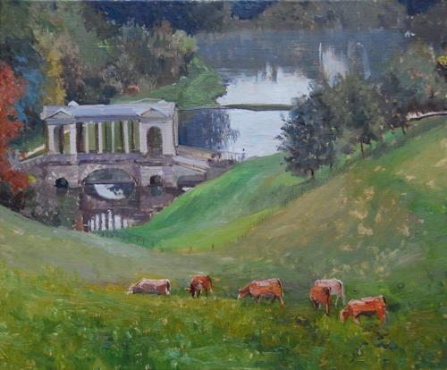 """Grey Mist, Prior Park, Bath,  24"""" x 20"""", Oil on canvas"""