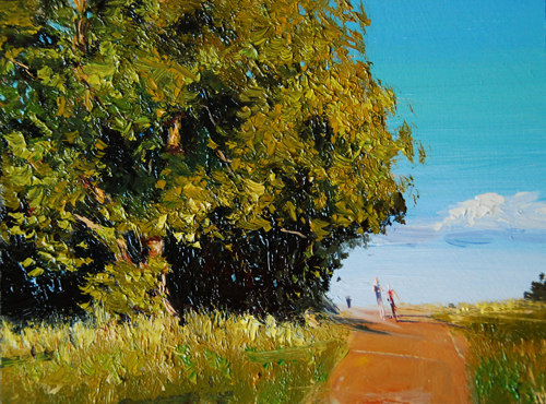 Summer Light, Parliament Hill, 8 x 6, oil on board