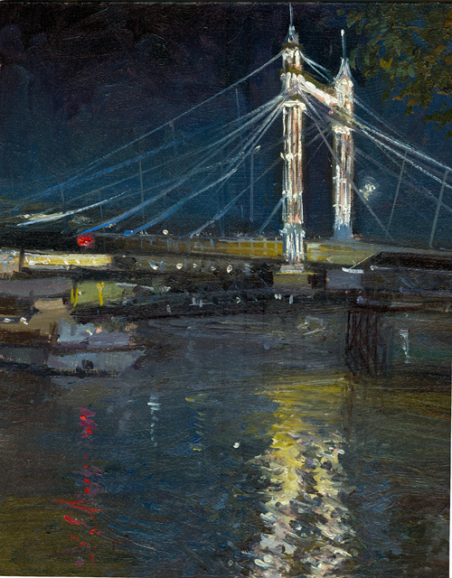 "albert bridge nocturne, 10"" x 8"", oil on board"