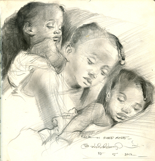 "Kezia in 3 sleep modes, Graphite on paper, 8"" x 8"""