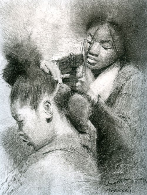 "AFRO SERIES XXI, Graphite and oil Base Pencil, 10"" x 8"""