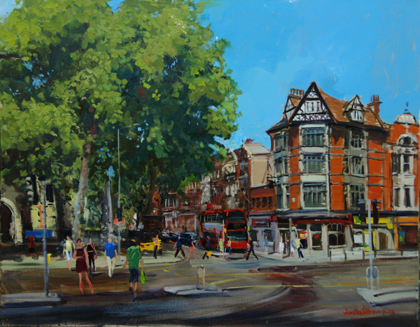 "The Buzz of Kensington Church Street, Acrylic on Canvas, 30"" x 24"""