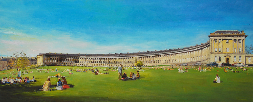 The Royal Crescent bathed in the Spring Sun