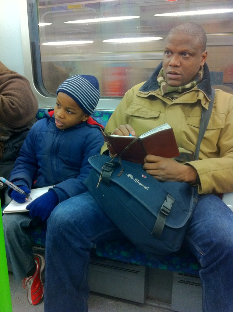 Adebanji and Josh Sketching on Public Transport