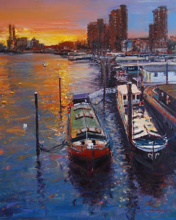 evening light from battersea bridge