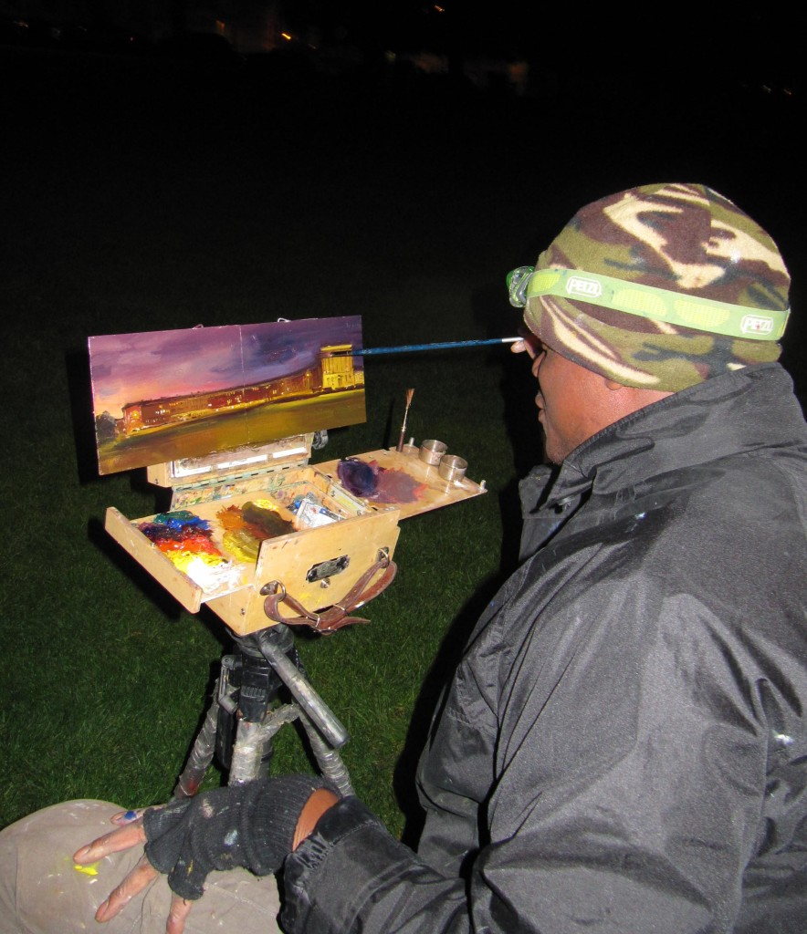 Adebanji painting the Royal Crescent, Bath at Night