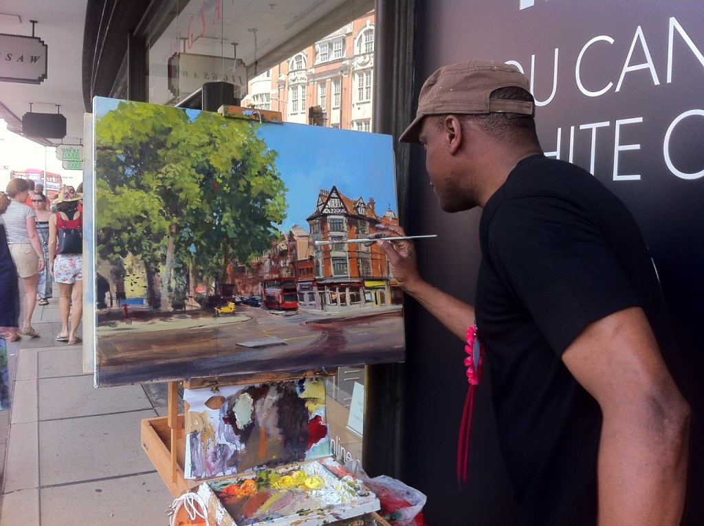 Adebanji painting at Kensington Church Street