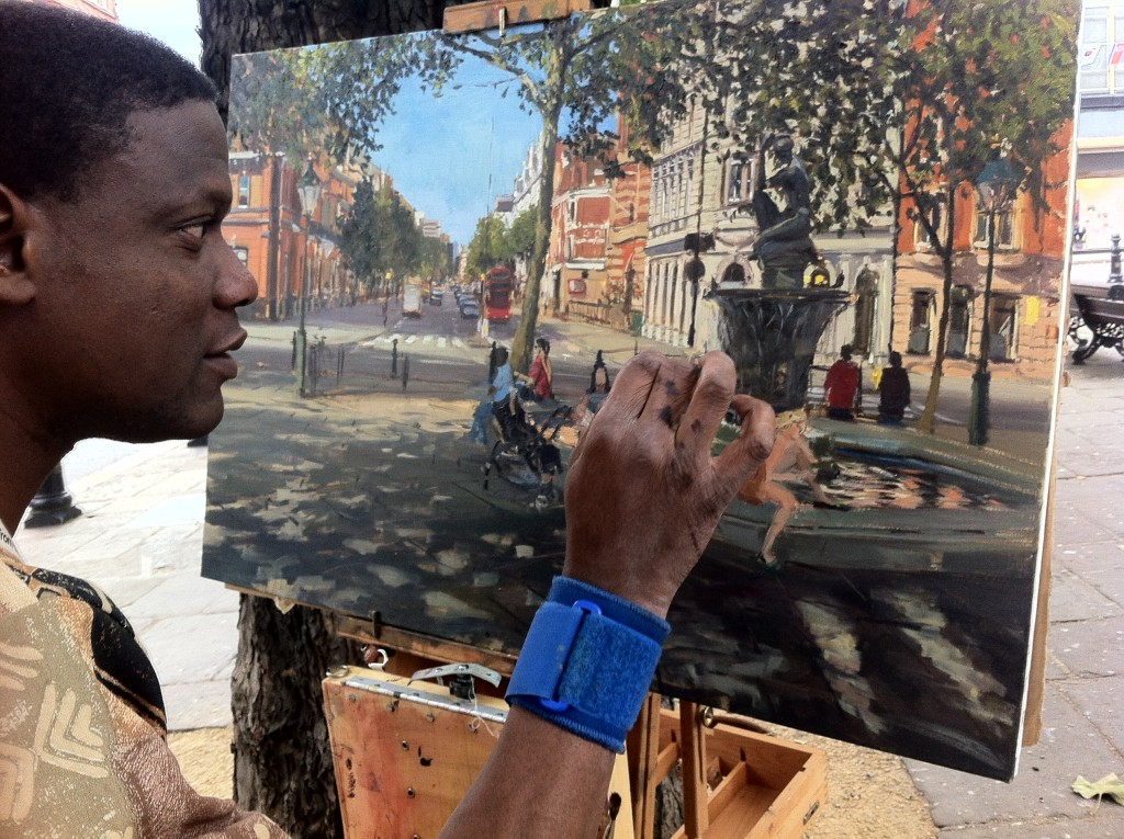 Adebanji painting at Sloane Square