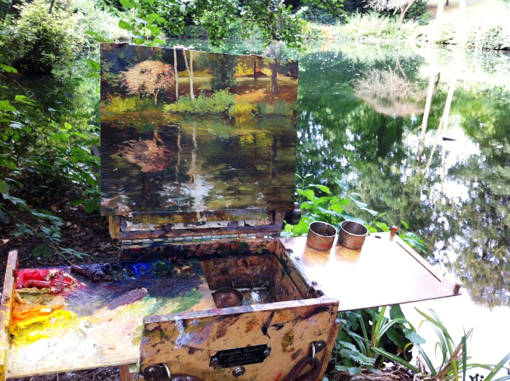 Adebanji painting in the jungle of Danson Park, Bexley