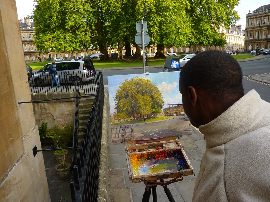 Adebanji painting the circus at bath