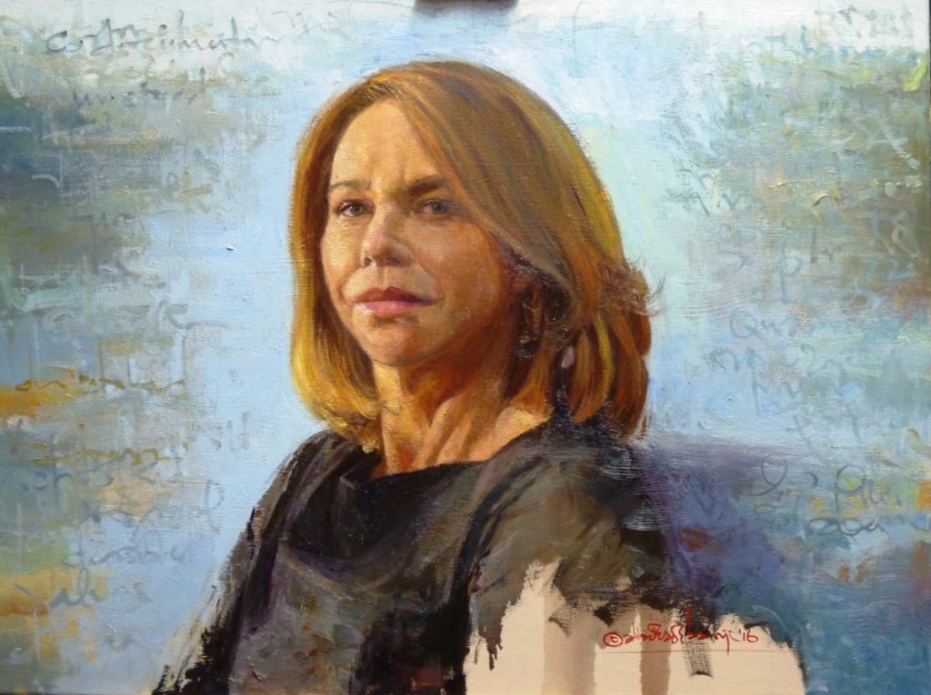 "Leslie Ash, 24"" x 18"", Oil on Canvas. As Seen on The One Show BBC One"
