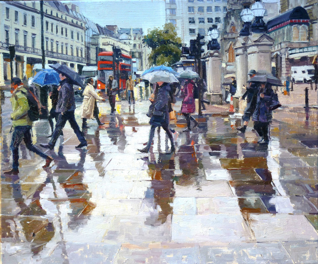 "The Day it Rained Charing Cross, 24"" x 20"", Oil on Canvas,."