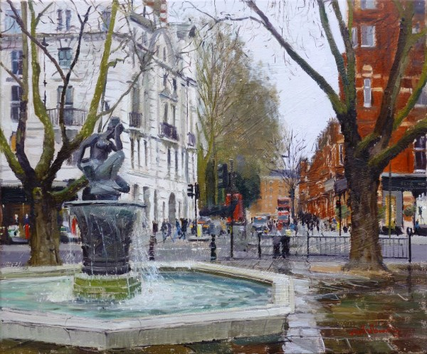 "Grey Tones Sloane Square, 20"" x 24"", Oil ocanvas"