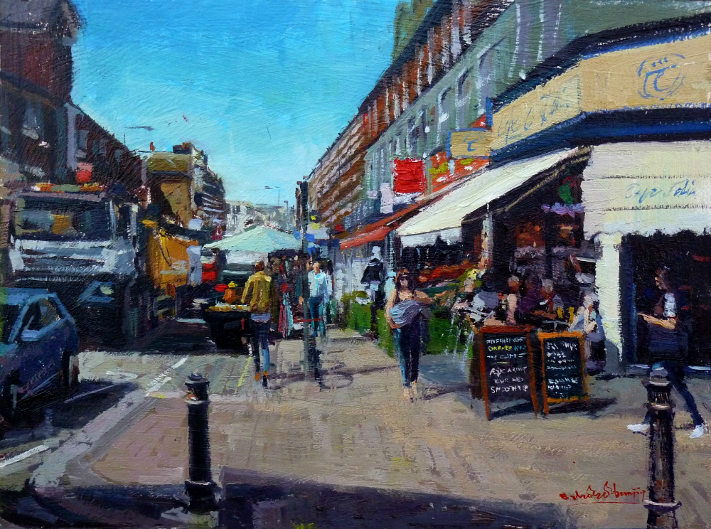 "Summer Shadows, North End Road Market, 12"" x 16"", Oil on Board, framed, £1,500"
