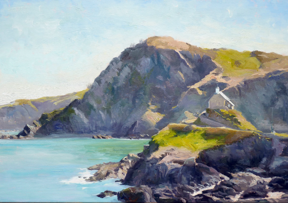 Morning Light, st Nicholas Chapel, Ilfracombe, 100 x 70 cm, oil on canvas