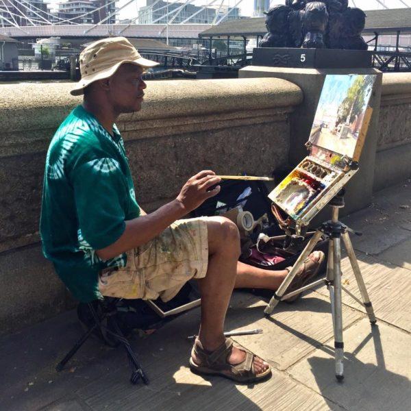 Adebanji painting Chelsea Embankment II