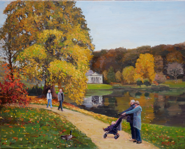 Autumn Colours, Stourhead, 100cm x 80cm, Oil on Canvas, 2017