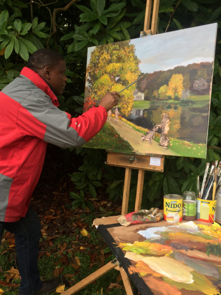 Adebanji painting in Stourhead