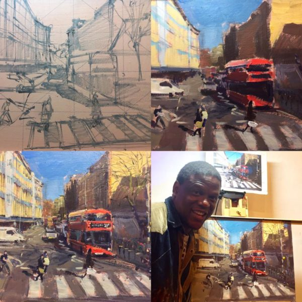 Stages of The Demo in Acrylic and Adebanji with the final piece.